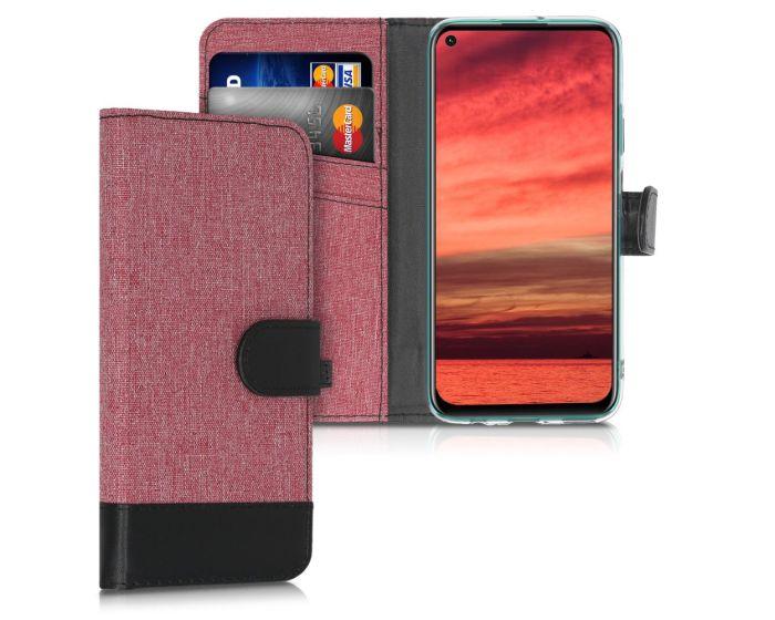 KWmobile Canvas Wallet Case (51497.10) Θήκη Πορτοφόλι με δυνατότητα Stand Dusty Pink / Black (Huawei P40 Lite)