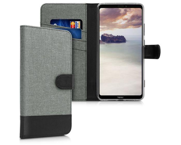 KWmobile Canvas Wallet Case (46089.01) Θήκη Πορτοφόλι με δυνατότητα Stand Grey / Black (Huawei Honor Note 10)