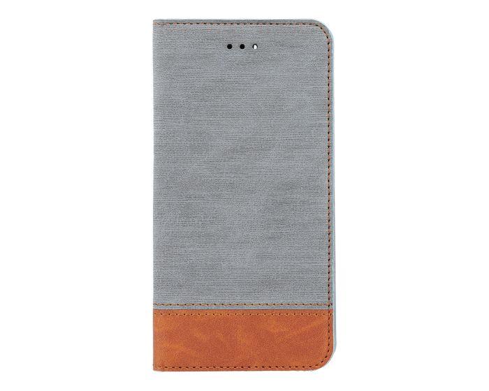 Retro Canvas Wallet Case Θήκη Πορτοφόλι με Δυνατότητα Stand Gray / Brown (Huawei Y5 2018 / Y5 Prime 2018)