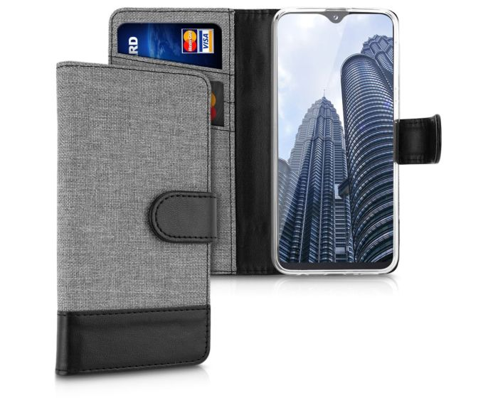 KWmobile Canvas Wallet Case (48741.22) Θήκη Πορτοφόλι με δυνατότητα Stand Grey / Black (Samsung Galaxy A20e)