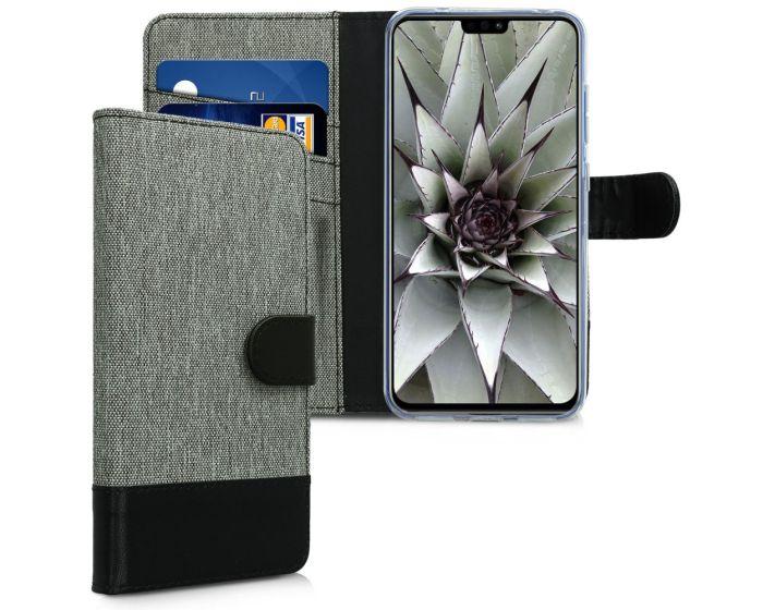 KWmobile Canvas Wallet Case (46347.22) Θήκη Πορτοφόλι με δυνατότητα Stand Grey / Black (Huawei Honor 8X)