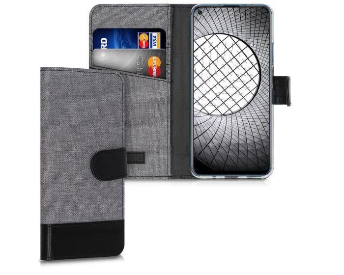 KWmobile Canvas Wallet Case (51498.22) Θήκη Πορτοφόλι με δυνατότητα Stand Grey / Black (Huawei Nova 5T / Honor 20)