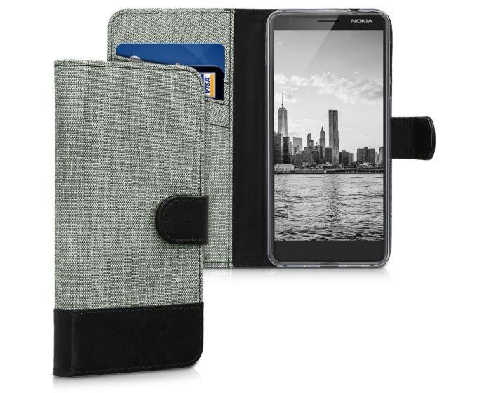 KWmobile Canvas Wallet Case (45396.01) Θήκη Πορτοφόλι με δυνατότητα Stand Grey / Black (Nokia 3.1 2018)