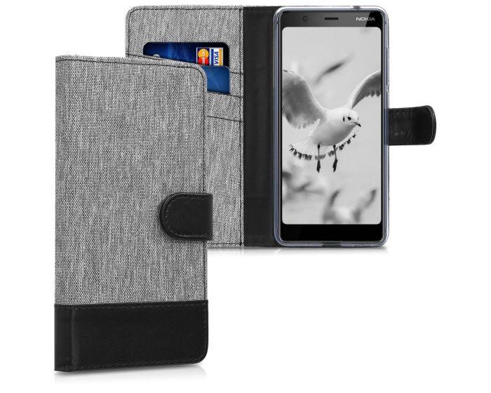 KWmobile Canvas Wallet Case (45405.01) Θήκη Πορτοφόλι με δυνατότητα Stand Grey / Black (Nokia 5.1 2018)