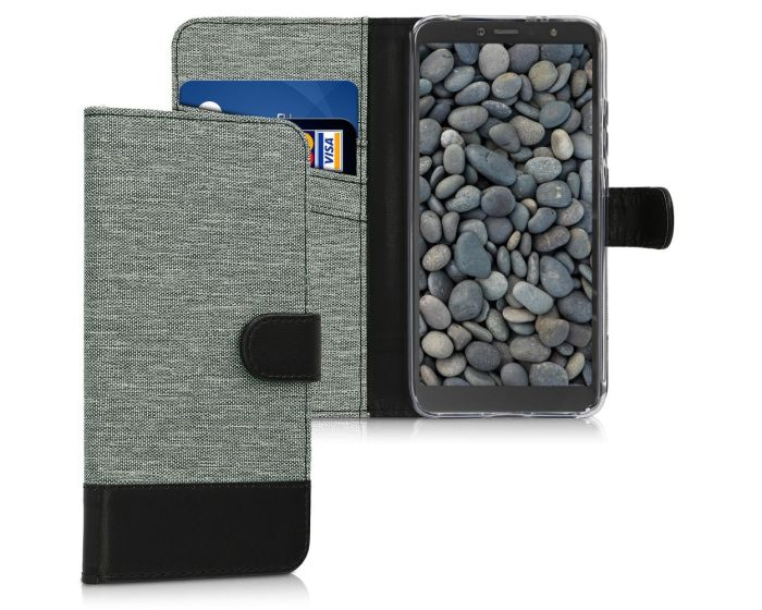 KWmobile Canvas Wallet Case (45871.22) Θήκη Πορτοφόλι με δυνατότητα Stand Grey / Black (Xiaomi Redmi S2)