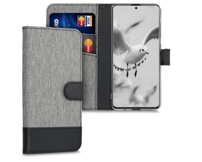 KWmobile Canvas Wallet Case (51194.22) Θήκη Πορτοφόλι με δυνατότητα Stand Grey / Black (Samsung Galaxy A51)