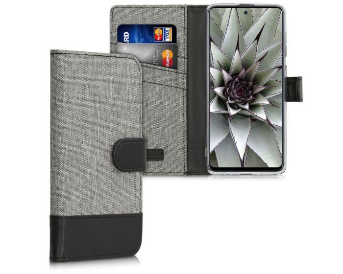 KWmobile Canvas Wallet Case (51206.22) Θήκη Πορτοφόλι με δυνατότητα Stand Grey / Black (Samsung Galaxy A71)