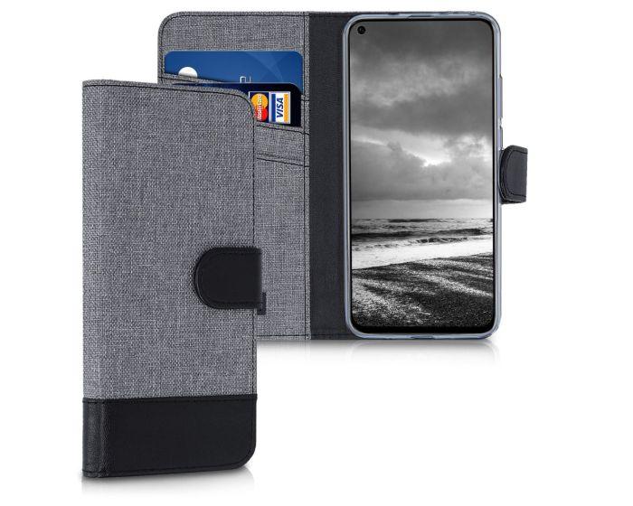 KWmobile Canvas Wallet Case (47304.01) Θήκη Πορτοφόλι με δυνατότητα Stand Grey / Black (Huawei Honor View 20)