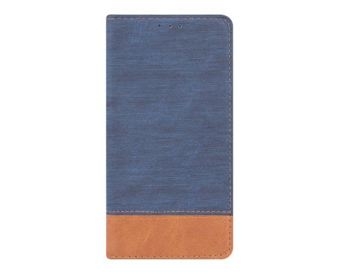 Retro Canvas Wallet Case Θήκη Πορτοφόλι με Δυνατότητα Stand Navy Blue / Brown (Huawei Y5 2018 / Y5 Prime 2018)