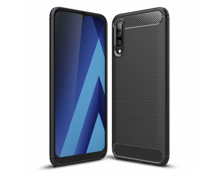 TPU Carbon Rugged Armor Case Ανθεκτική Θήκη Black (Samsung Galaxy A70)