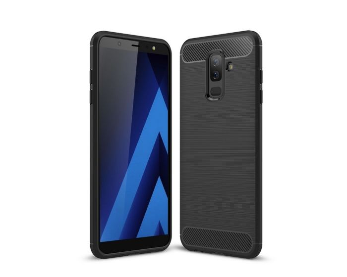 Carbon Rugged Armor Case (HSC046) Black + Tempered Glass Screen Protector (Samsung Galaxy A6 Plus 2018)