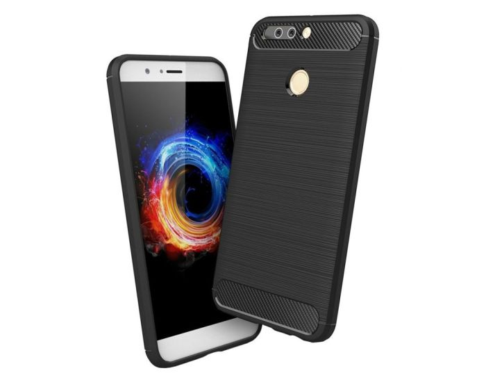 Carbon Rugged Armor Case (HSC006) Black + Tempered Glass Screen Protector (Huawei Honor 8 Pro / V9)