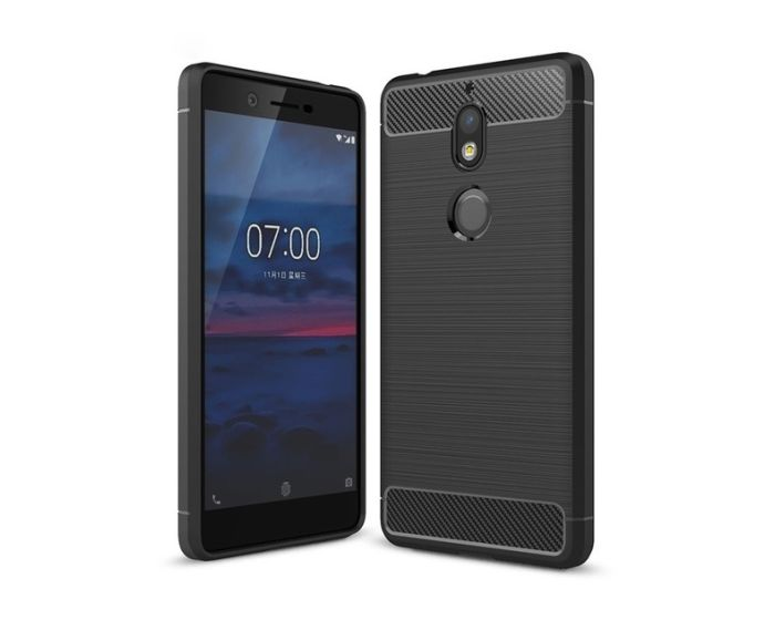Carbon Rugged Armor Case (HSC047) Black + Tempered Glass Screen Protector (Nokia 7)