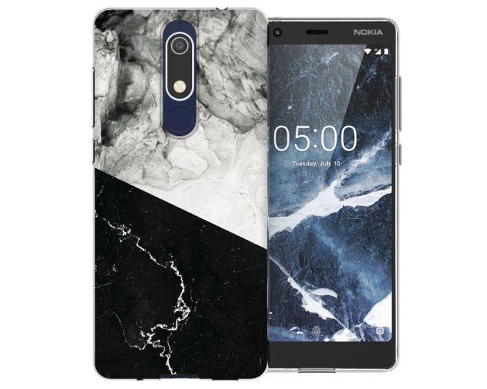 Caseflex Slim Fit Gel Case Marble (CUV-N51-Z324) Θήκη Σιλικόνης Λευκό / Μαύρο (Nokia 5.1 2018)