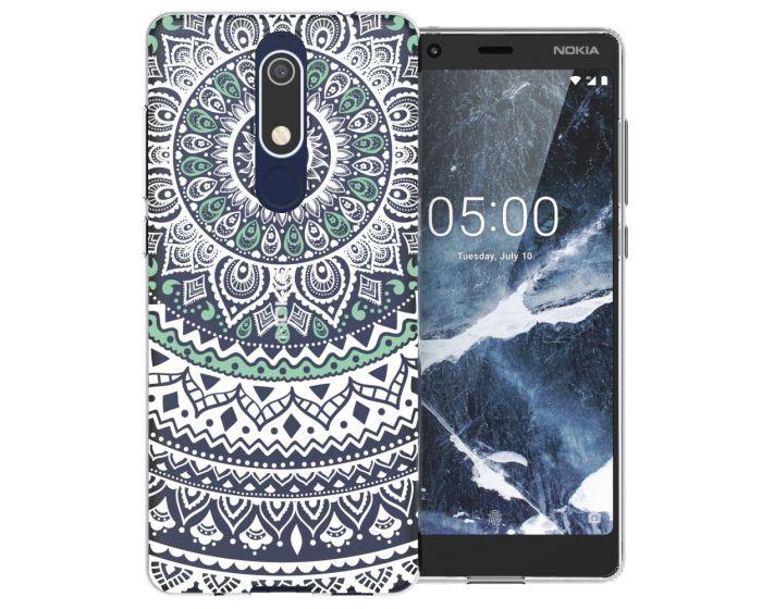 Caseflex Slim Fit Gel Case Mandala (CUV-N51-Z344) Θήκη Σιλικόνης Mint / Green (Nokia 5.1 2018)