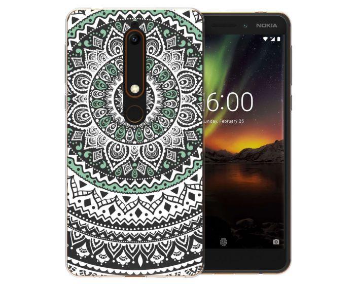 Caseflex Slim Fit Gel Case Mandala (CUV-NO6-Z344) Θήκη Σιλικόνης Mint / Green (Nokia 6.1 2018)