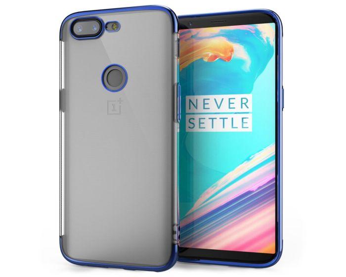 Caseflex Shockproof TPU Gel Case Θήκη Σιλικόνης Clear / Blue (OnePlus 5T)