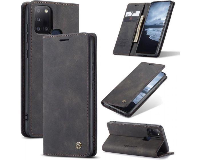 CaseMe PU Leather Wallet Case Θήκη Πορτοφόλι με Stand - Black (Samsung Galaxy A21s)