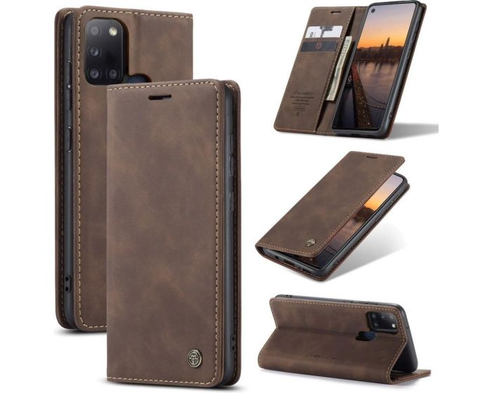 CaseMe PU Leather Wallet Case Θήκη Πορτοφόλι με Stand - Coffee Brown (Samsung Galaxy A21s)