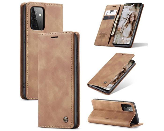 CaseMe PU Leather Wallet Case Θήκη Πορτοφόλι με Stand - Light Brown (Samsung Galaxy A72 4G / 5G)