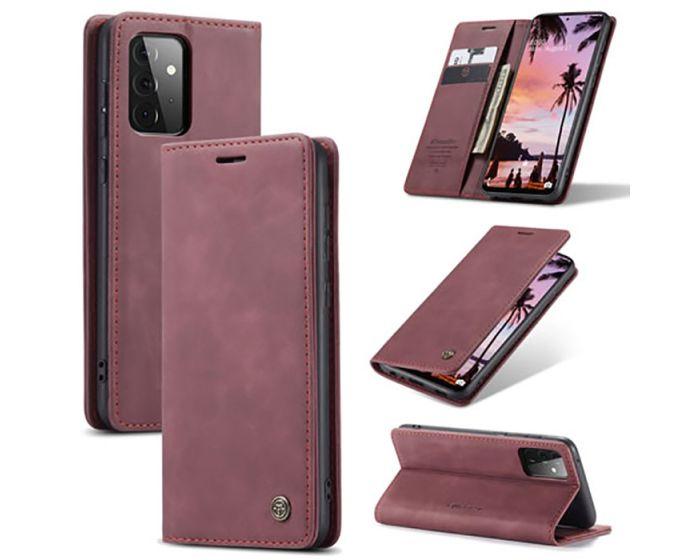 CaseMe PU Leather Wallet Case Θήκη Πορτοφόλι με Stand - Dark Red (Samsung Galaxy A72 4G / 5G)