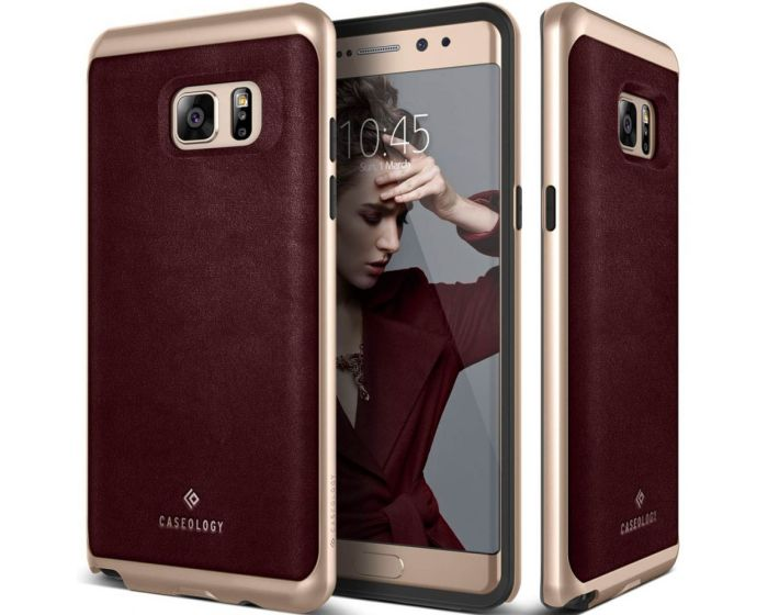 CASEOLOGY Envoy Series (CO-NT7-ENV-NV) Leather Cherry Oak / Gold (Samsung Galaxy Note 7)