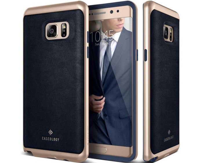CASEOLOGY Envoy Series (CO-NT7-ENV-NV) Leather Navy / Gold (Samsung Galaxy Note 7)