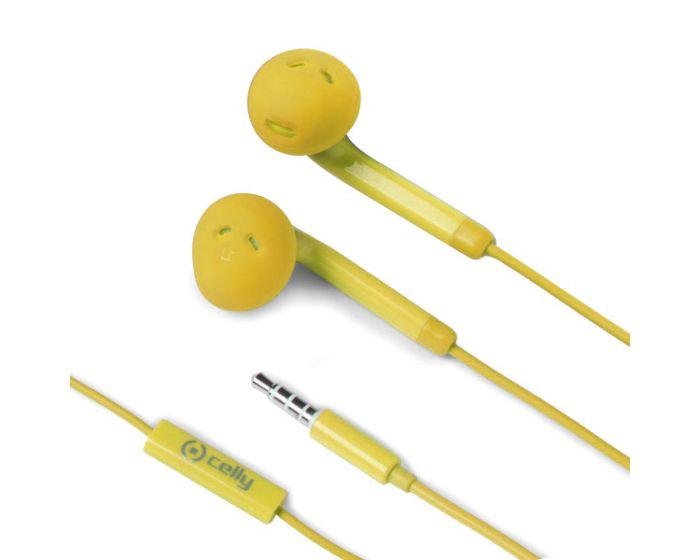 Celly Color Stereo Earphone (FUN35YL) Ακουστικά με Ενσωματωμένο Μικρόφωνο - Yellow