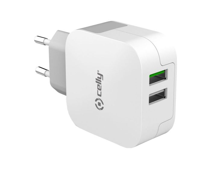 Celly Turbo Wall Charger 2XUSB 3.4A Φορτιστής Ταξιδίου - White