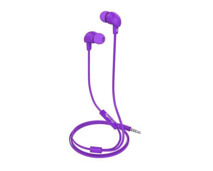 Celly Up 600 Stereo Earphone Hands Free Ακουστικά 3.5mm με Μικρόφωνο - Purple