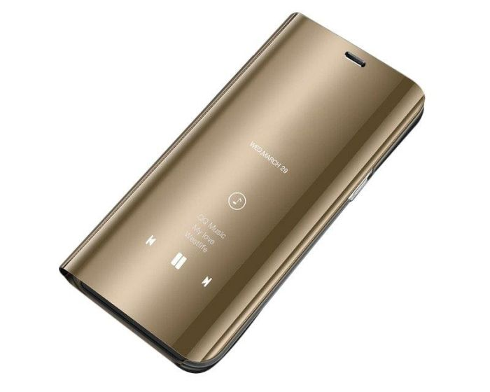 Clear View Standing Cover - Gold (Xiaomi Mi Note 10 Lite)