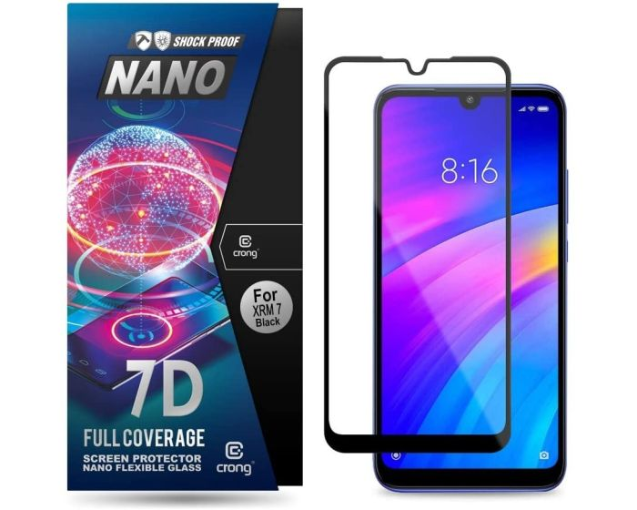 Crong 7D Nano Flexi Full Face Black (CRG-7DNANO-XR7) Αντιχαρακτικό 9H Hybrid Screen Protector (Xiaomi Redmi 7)