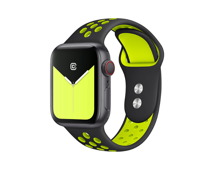 Crong Duo Sport (CRG-40DSB-YLW) Black / Yellow - Λουράκι Σιλικόνης για Apple Watch 38/40mm (1/2/3/4/5/6/SE)