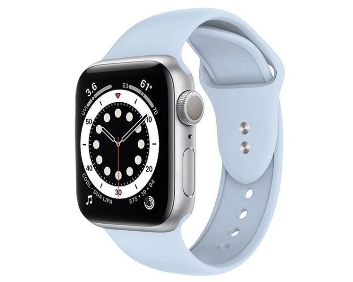 Crong Liquid Premium Strap (CRG-44LQB-BBL) Azure - Λουράκι Σιλικόνης για Apple Watch 42/44mm (1/2/3/4/5/6/SE)