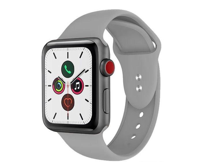 Crong Liquid Premium Strap (CRG-44LQB-CGR) Grey - Λουράκι Σιλικόνης για Apple Watch 42/44mm (1/2/3/4/5/6/SE)