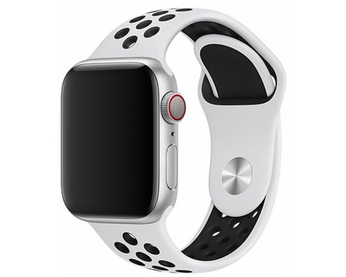 Devia Deluxe Sport2 Strap White - Λουράκι Σιλικόνης για Apple Watch 38/40mm (1/2/3/4/5/6/SE)