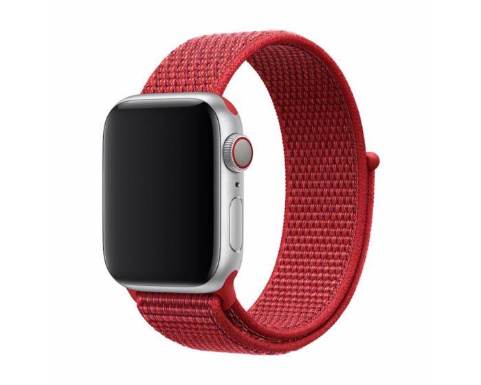 Devia Deluxe Sport3 Strap Υφασμάτινο Λουράκι Red για Apple Watch 42/44mm (1/2/3/4/5/6/SE)