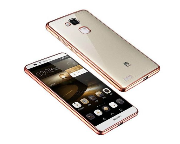 Forcell Electro Bumper Silicone Case Slim Fit - Θήκη Σιλικόνης Clear / Rose (Huawei P9 Lite)