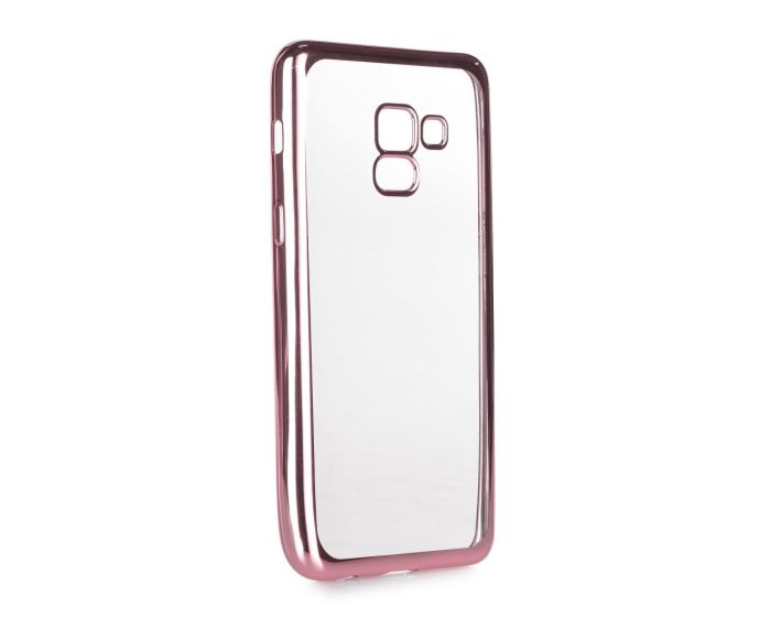 Forcell Electro Bumper TPU Silicone Case Slim Fit - Θήκη Σιλικόνης Clear / Rose Gold (Samsung Galaxy A8 Plus 2018)