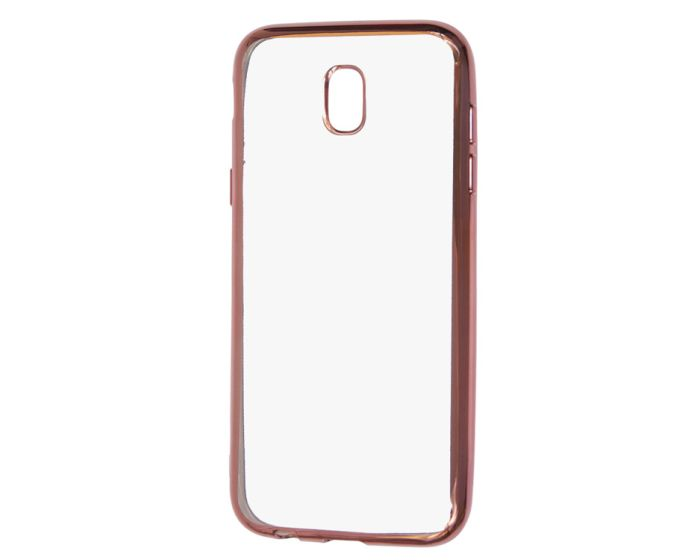 Forcell Electro Bumper Silicone Case Slim Fit - Θήκη Σιλικόνης Clear / Rose Gold (Samsung Galaxy J3 2017)