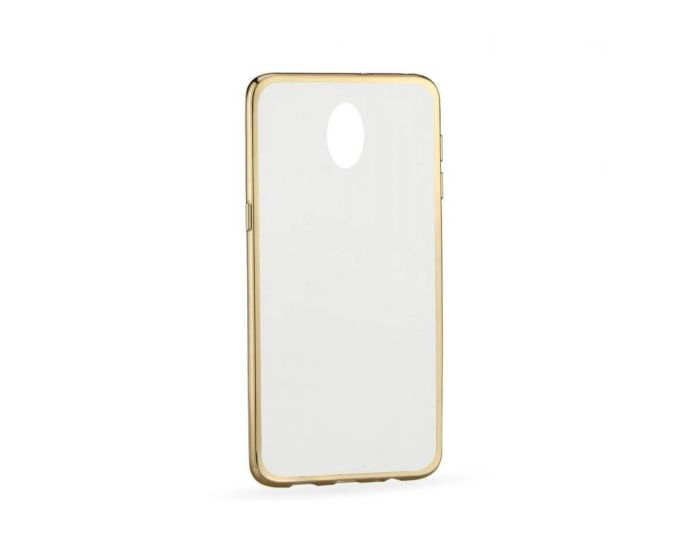 Forcell Electro Bumper Silicone Case Slim Fit - Θήκη Σιλικόνης Clear / Gold (HTC Desire 620)
