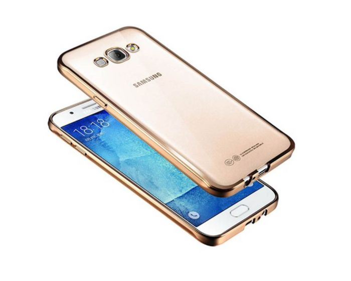 Forcell Electro Bumper Silicone Case Slim Fit - Θήκη Σιλικόνης Clear / Gold (LG K7)