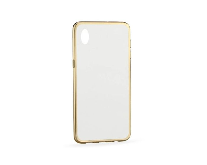 Forcell Electro Bumper Silicone Case Slim Fit - Θήκη Σιλικόνης Clear / Gold (HTC Desire 820)