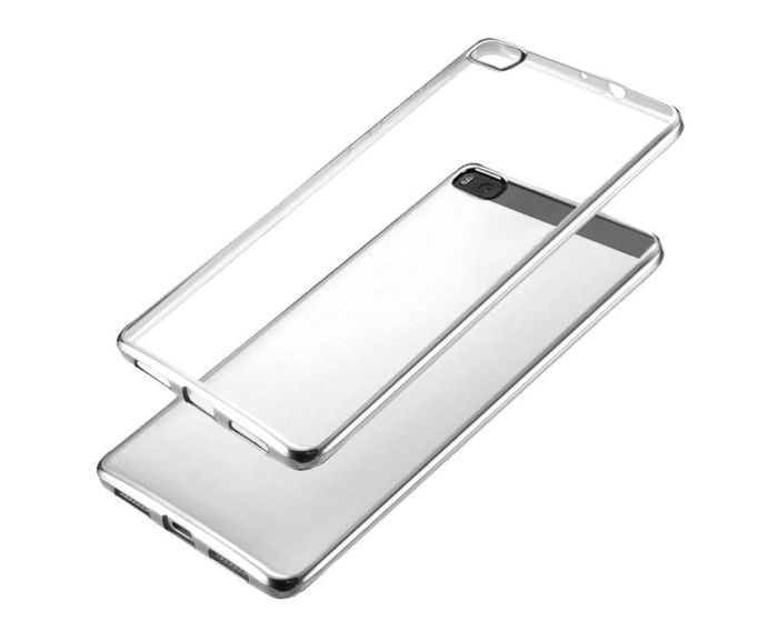 Forcell Electro Bumper Silicone Case Slim Fit - Θήκη Σιλικόνης Clear / Silver (Huawei Ascend P8)