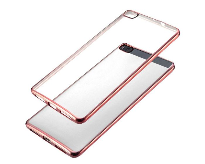 Forcell Electro Bumper Silicone Case Slim Fit - Θήκη Σιλικόνης Clear / Rose (Huawei Ascend P8 Lite)