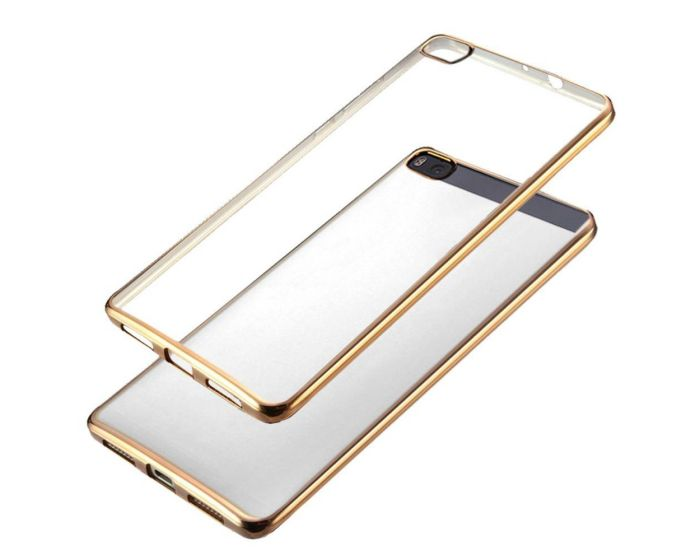 Forcell Electro Bumper Silicone Case Slim Fit - Θήκη Σιλικόνης Clear / Gold (Huawei Ascend P8 Lite)