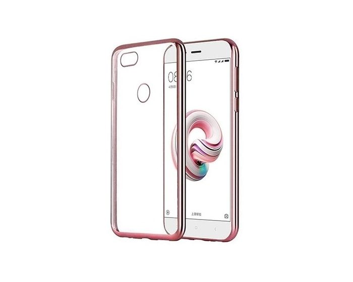 Forcell Electro Bumper TPU Silicone Case Slim Fit - Θήκη Σιλικόνης Clear / Rose Gold (Huawei P9 Lite Mini)