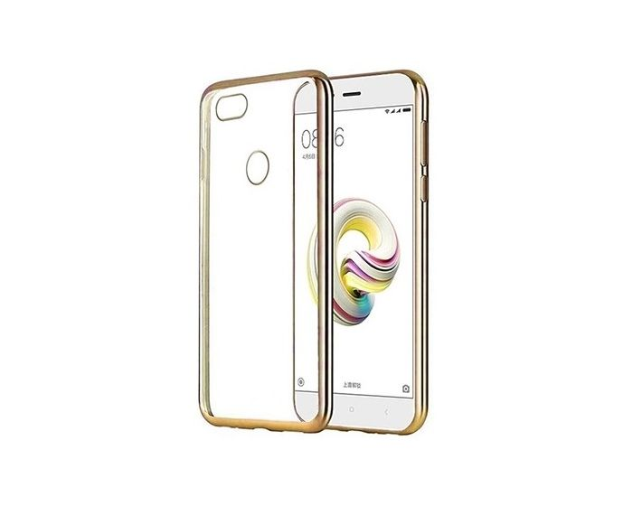 Forcell Electro Bumper TPU Silicone Case Slim Fit - Θήκη Σιλικόνης Clear / Gold (Huawei P9 Lite Mini)