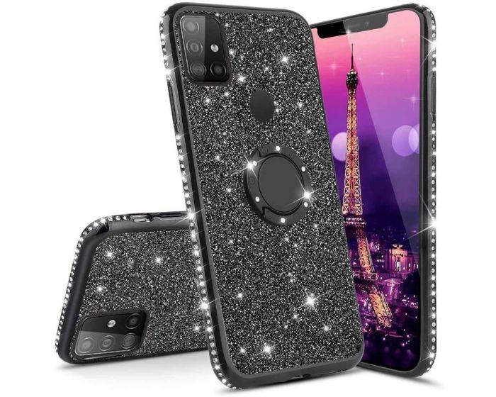 Diamond Ring Case με Electro Bumper και Glitter - Black (Samsung Galaxy M21 / M30s)