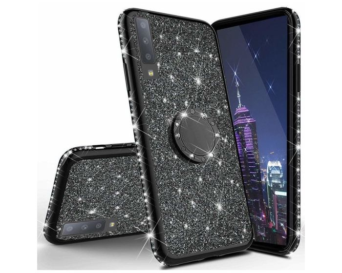 Diamond Ring Case με Electro Bumper και Glitter - Black (Samsung Galaxy A70)